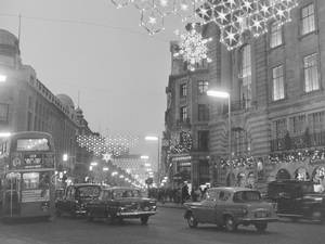 Regent Street snowflake Christmas lights, 1955
