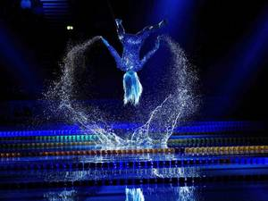 13 December 2013: An artiste performs during the opening ceremony of the European Short Course Swimming Championship in Herning