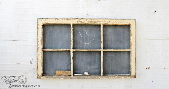 Antique Window Chalkboard - Farmhouse 6-Pane Window - 38 x 23