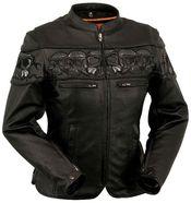 Ladies Soft Naked Cowhide Leather Motorcycle Jacket Reflective Skulls