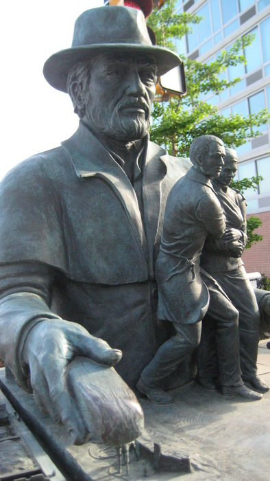 The Morris Canal is considered to be part of the Underground Railroad since abolitionists sometimes used coal boats to transport former slaves to safe havens. This legacy of the canal is memorialized with a statue (pictured) near the Hudson-Bergen Light Rail's Essex Street stop.