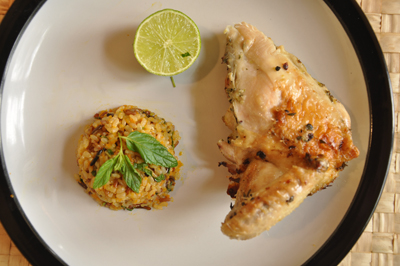 grilled butterfly chicken with thyme, lime and garlic