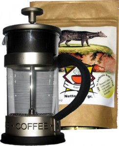 French Press + 50 gr gemahlener 100% Kopi Luwak