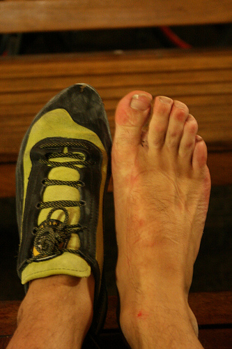 Tight fitting climbing shoes