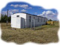 Large yard with plenty of space for parking at the LnD Hideaway in Oshkosh, NE.
