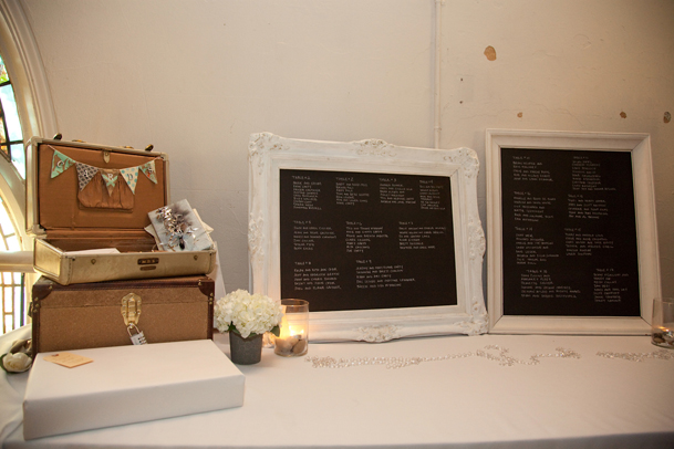 chalkboard framed seating chart suitcase gifts