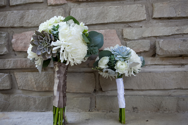 beautiful silver wrap bouquet white succulent