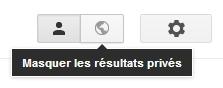 Boutons de contrôle des résultats privés sur Google