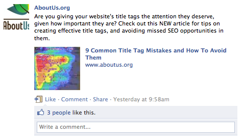 Title tag pulled into Facebook post link