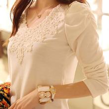 韩都2013秋装上衣韩国新款大码女装衣服韩版蕾丝打底衫长袖女t恤