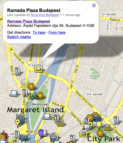 Location of Ramada Plaza Five Star Baths Hotel in Budapest Hungary