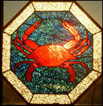 stained glass of a crab