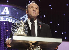 Actor Kevin Spacey on stage at the Britannia Awards ceremony