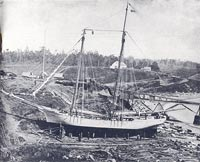 "The schooner ""Electra"" being launched from the Thomas Peterson shipyards"