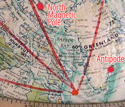 North Magnetic Pole, Greenland Pt. and South Magnetic Pole ? ANTIPODE