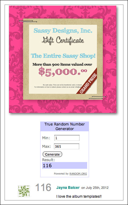 Sassy Designs Inc contest giveaway