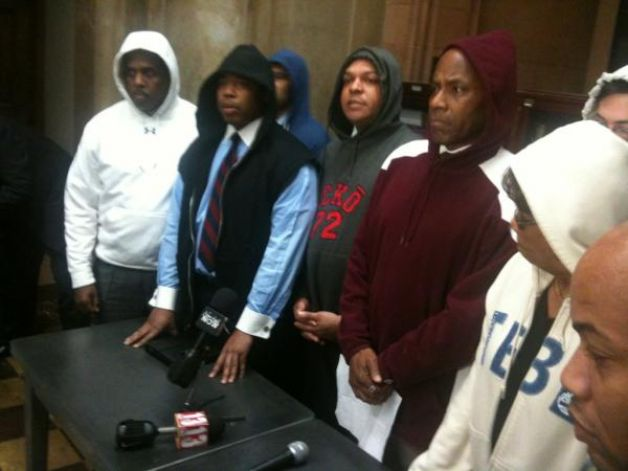 State Senate Democrats put on hooded sweatshirts Monday, March 26, 2012, to protest the death of Trayvon Martin, the young man allegedly gunned down by neighborhood crime watch captain in Florida. (CASEY SEILER / TIMES UNION)