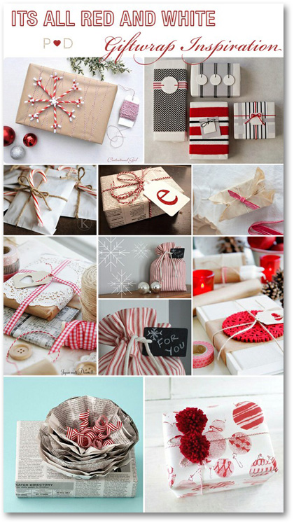 red and white Christmas giftwrap packages