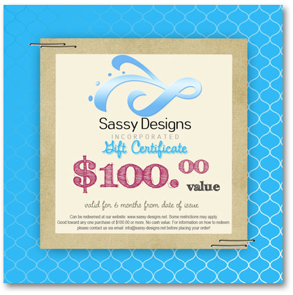 Sassy Designs gift certificate