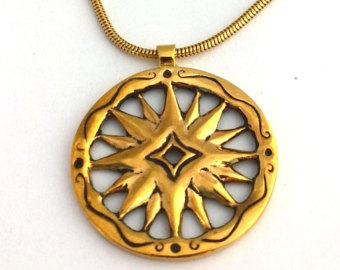 Compass Rose Pendant, gold plated.