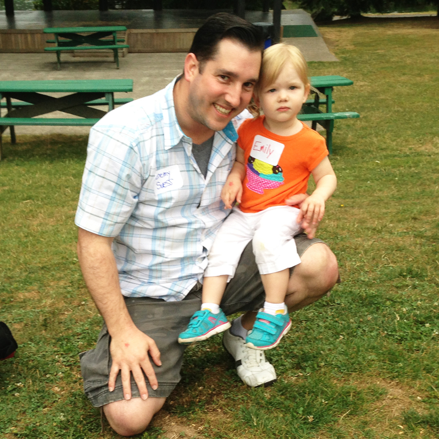 Jeremy Suess with daughter