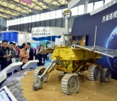 """A model of China's """"Jade Rabbit"""" lunar probe, which is on the moon now."""