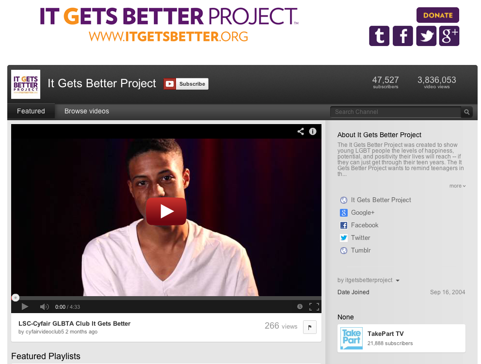"""In October 2010, columnist Dan Savage used YouTube to launch the """"It Gets Better"""" project"""