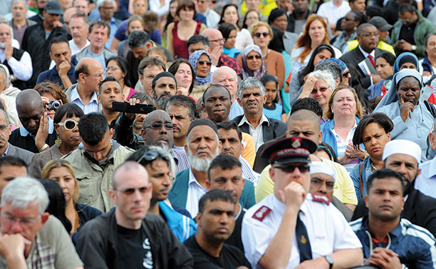 Vision of harmony: people gather at a peace rally held in Birmingham, following the riots of 2011. Getty Images/AFP/Andrew Yates