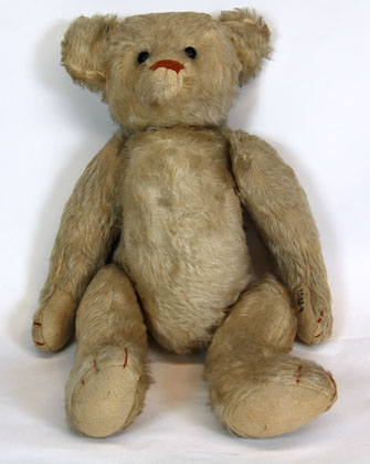 Well-loved teddy bear from 1904 donated to the Society by Pearl Nelson of Pilger.