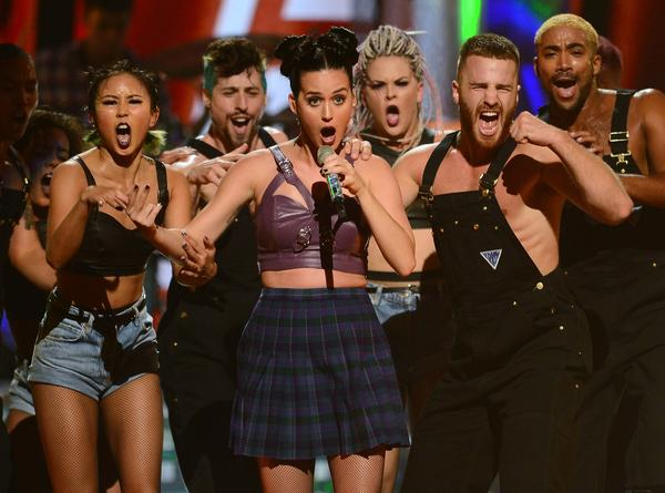 Katy Perry performs during the iHeartRadio Music Festival in Las Vegas, Nevada.