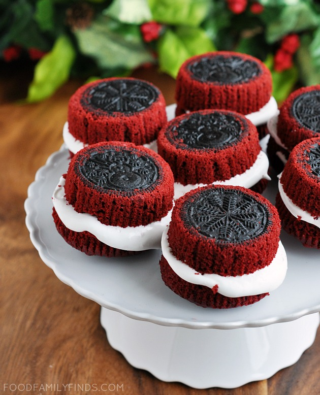 Holiday Stuffed OREO Cupcakes