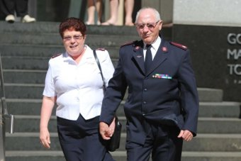 Cliff and Marina Randall leave the Royal Commission into Institutional Responses to Child Sexual Abuse in Sydney