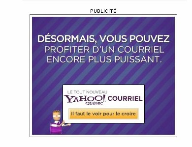 Yahoo email ad