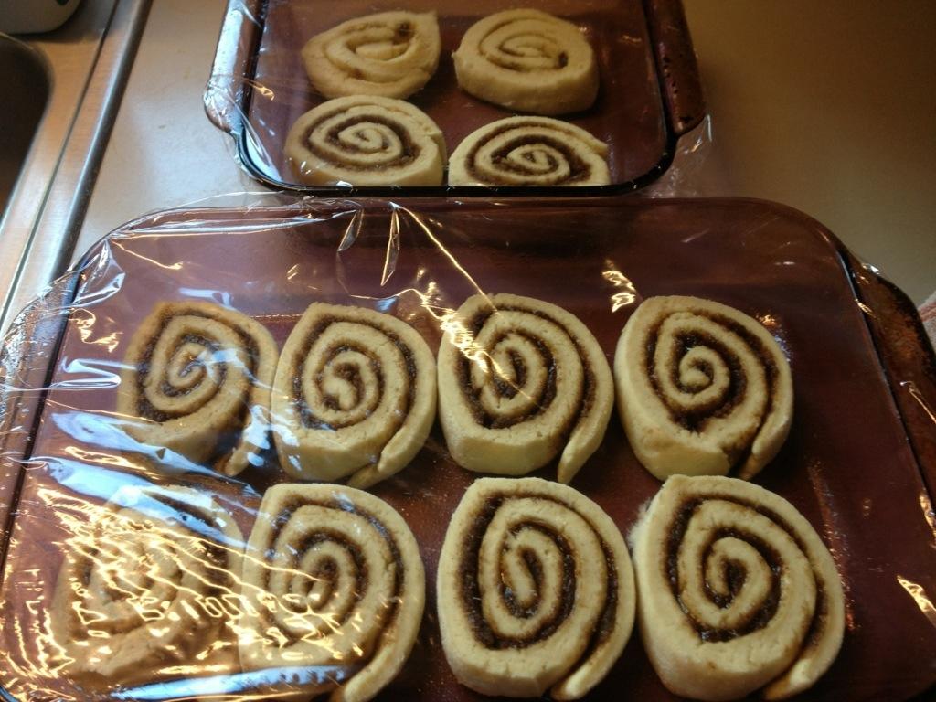 GF Cinnamon Rolls Dough that have risen