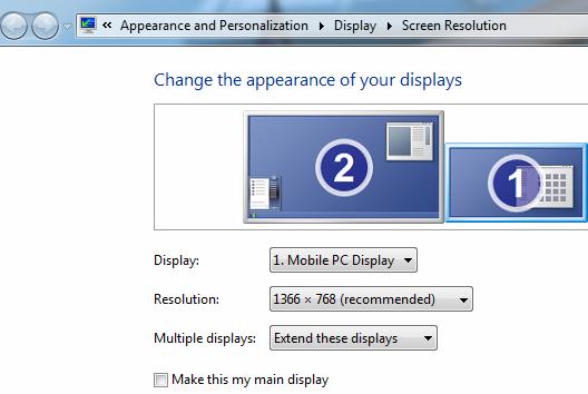 Dual monitor settings in Windows