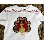 Boys BHB Thanksgiving Fall Boys Plaid Applique Turkey Boutique Onesie or Shirt