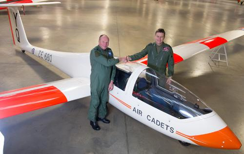 "Group Capt John ""JC"" Cunningham of No. 3 Flying Training School hands over responsibility for RAF Air Cadet gliding to Group Capt John Middleton"