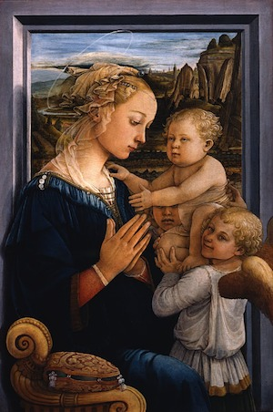 Fra Filippo Lippi, Madonna and Child with Two Angels, tempera on wood, ca. 1455 - 1466 (Galleria degli Uffizi, Florence)