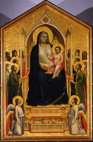 "Giotto di Bondone, The Ognissanti Madonna, 1306-10, tempera on panel, 128 x 80 1/4"" or 325 x 204 cm (Galleria degli Uffizi, Florence), painted for the Church of Ogniss"