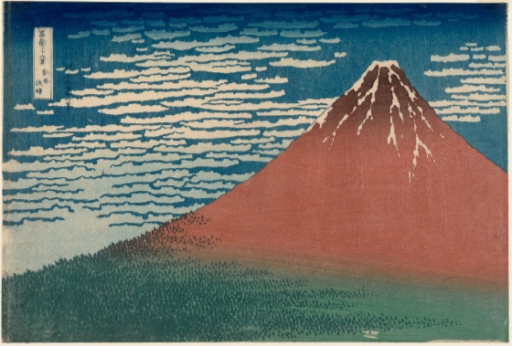 Katsushika Hokusai, Fine Wind, Clear Weather, Also known as Red Fuju, from the series Thirty-six Views of Mount Fuji, c. 1830-31, woodblock print; ink and color on paper, 9 5/8 x 15 inches / 24.4 x 38.1 cm (Museum of Fine Arts, Boston)