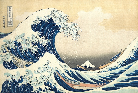 Katsushika Hokusai, Under the Wave off Kanagawa (Kanagawa oki nami ura), also known as the Great Wave, from the series Thirty-six Views of Mount Fuji (Fugaku sanjūrokkei), c. 1830-32, polychrome woodblock print; ink and color on paper, 10 1/8 x 14 15 /16 inches / 25.7 x 37.9 cm (The Metropolitan Museum of Art)