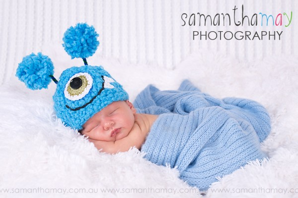tiddle skiddles monster hat, perth newborn photographer, in studio