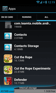 Delete contacts ICS settings page