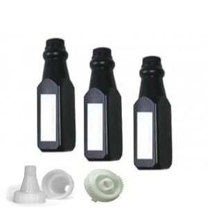 Showing 3 Bottles of compatible Brother TN450 Toner Refill Kit with funnel and gear