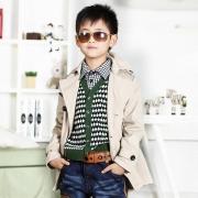 一贝皇城童装 2013春装新款男童风衣中长款 儿童纯棉外套休闲大衣
