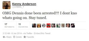 Tweet From NBA star Kenny Anderson