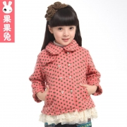 果果兔 童装2013春装新款儿童风衣外套中小女童大衣韩版加厚花边