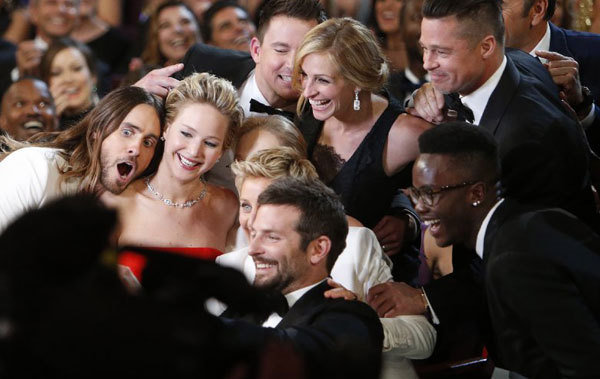 Taking a selfie at the Oscars