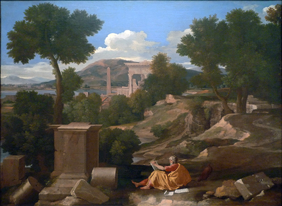 Nicolas Poussin, Landscape with St. John, 1640, oil on canvas, 39-1/2 x 53-5/8 inches (Art Institute of Chicago)