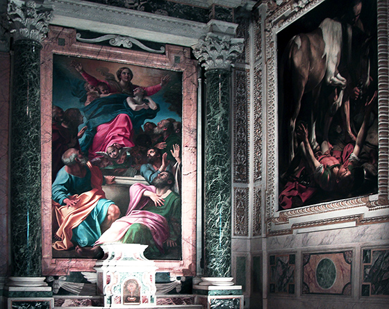 View of the right side of the Cerasi Chapel in Santa Maria Popolo, Rome with Annibale Carracci's Assumption of the Virgin, 1600-01 and Caravaggio's Conversion of Saint Paul (or Conversion of Saul), 1600-01